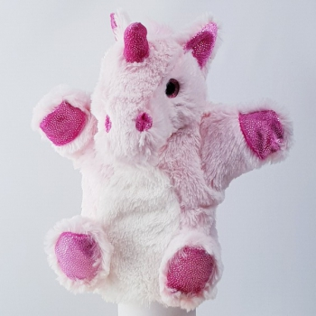 Handpuppe Einhorn rosa