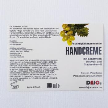 DAJO Handcreme mit Traubenkernöl, Schafmilch und Rotwein 100 ml
